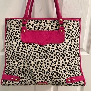 Rebecca Minkoff pink leather cheetah tote